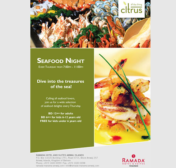 Seafood Night at Ramada Hotel & Suites Amwaj Islands